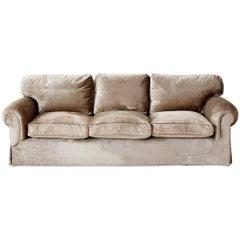 English Style Three-Seat Velvet Sofa