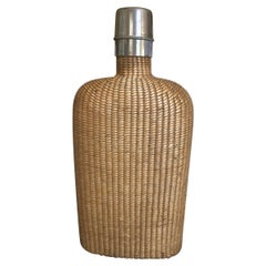 English Summer Rattan Covered Flask with a Brass Top, 19th Century