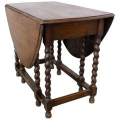 English Table Oval Top Barley Twist Gate Leg Drop Leaf, Oak, Early 20th Century