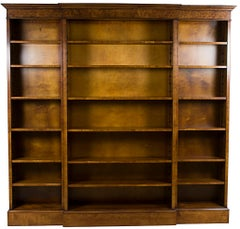 English Tall Triple Breakfront Open Bookcase in Burled Walnut