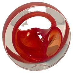English Teign Valley Red Art Glass Sculpture Paper Weight Bookend