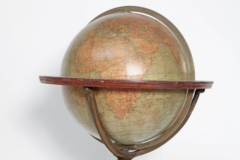 Cast English Terrestrial Globe by W. & A.K. Johnston, Limited, circa 1890 For Sale