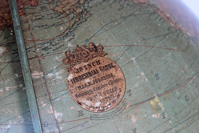 Iron English Terrestrial Globe by W. & A.K. Johnston, Limited, circa 1890 For Sale