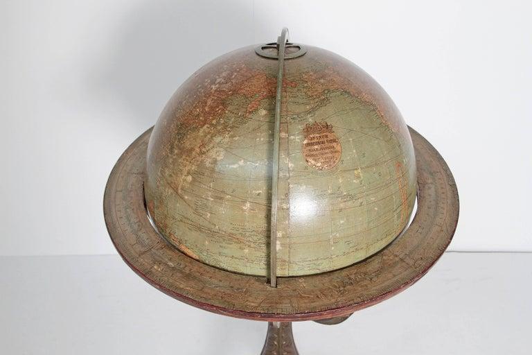 English Terrestrial Globe by W. & A.K. Johnston, Limited, circa 1890 For Sale 1