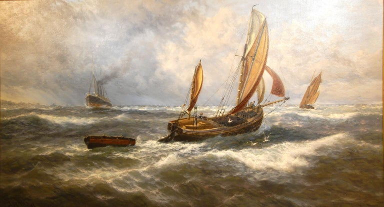 English Thomas Rose Miles original large marine oil painting on canvas, title inscribed verso