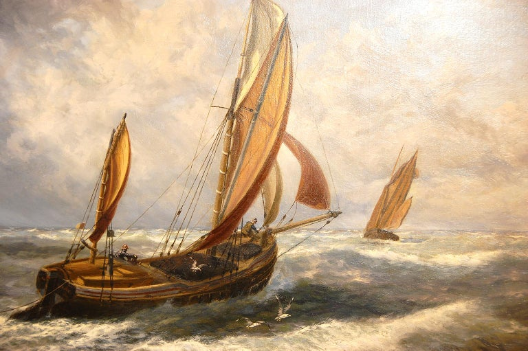 English Thomas Rose Miles 19th Century Large Original Marine Oil Painting In Good Condition For Sale In Wells, ME