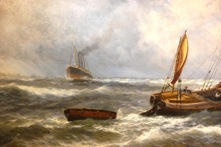 English Thomas Rose Miles 19th Century Large Original Marine Oil Painting For Sale 1