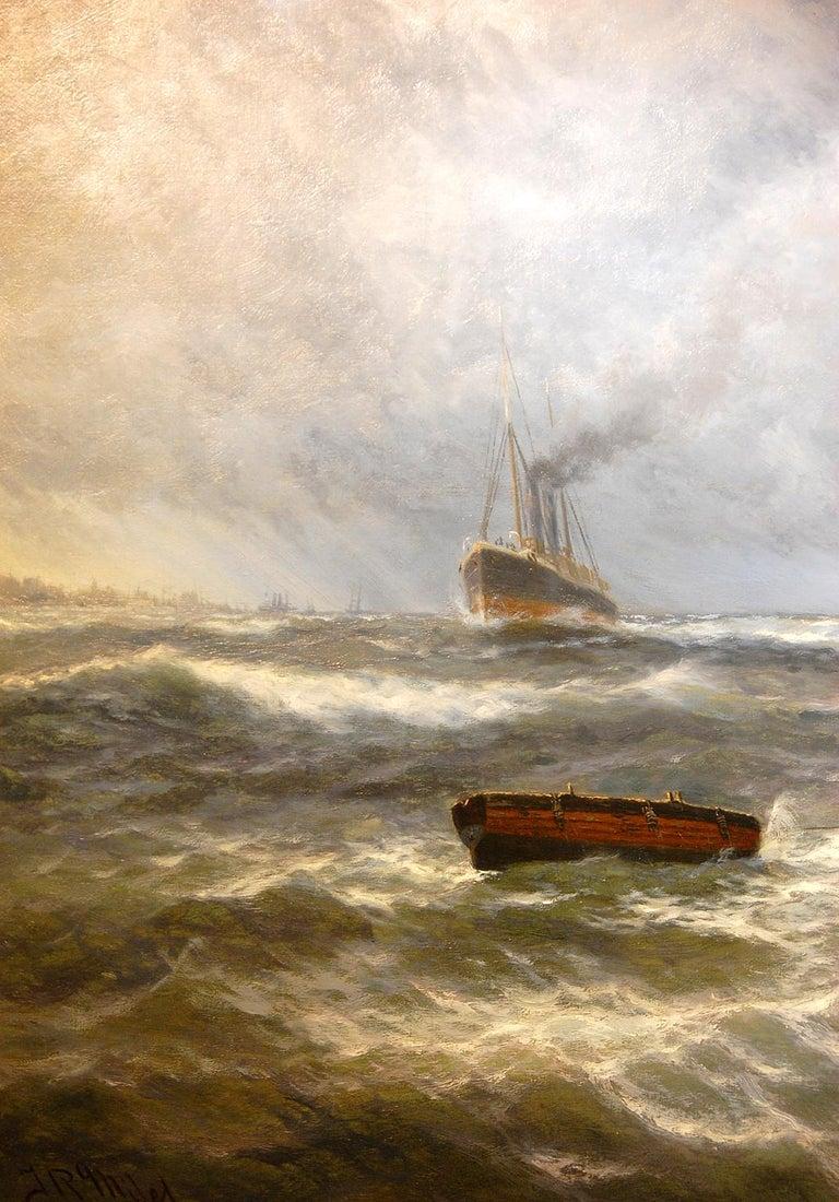 English Thomas Rose Miles 19th Century Large Original Marine Oil Painting For Sale 2