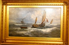 English Thomas Rose Miles 19th Century Large Original Marine Oil Painting