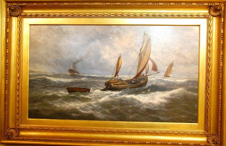 English Thomas Rose Miles 19th Century Large Original Marine Oil Painting For Sale