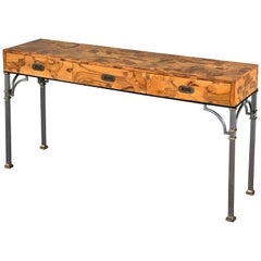 English Three-Drawer Console Table of Olive Wood on Metal Legs