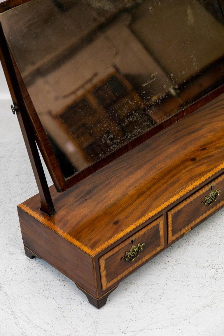 Brass English Three-Drawer Dressing Mirror For Sale