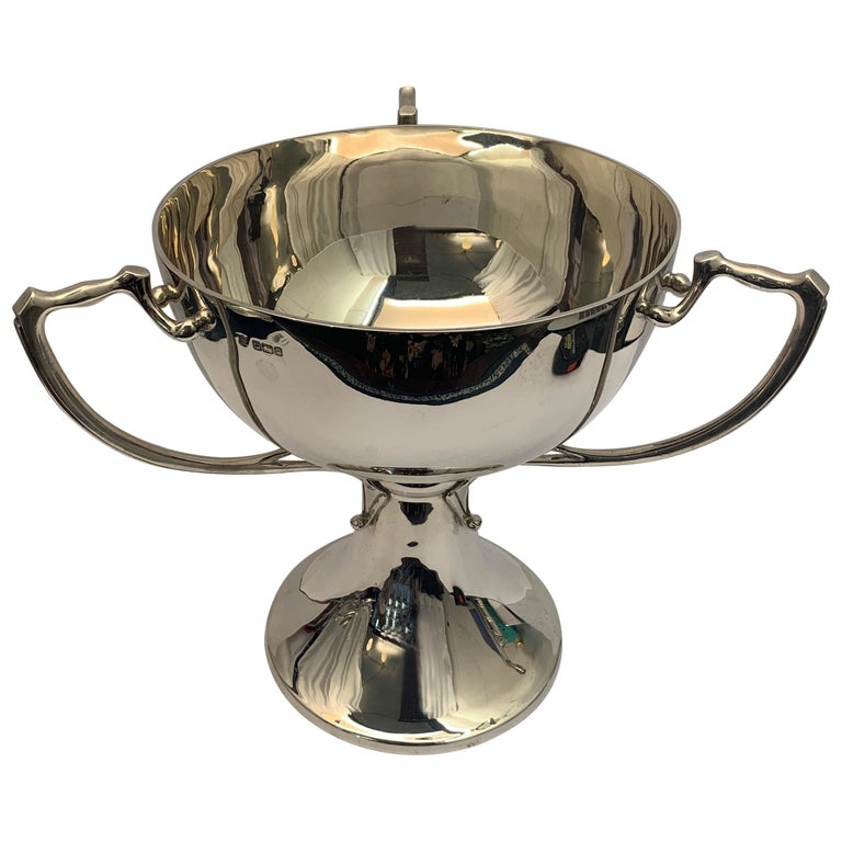English Three Handled Silver Cup of Plain Design, 1908 For Sale