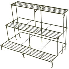 English Three Tiered Rectangular Plant Stand Of Painted Steel For The Garden