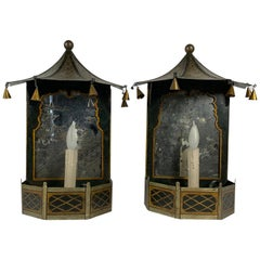 English Tole Painted Chinoiserie Pagoda Form Mirrored Sconces