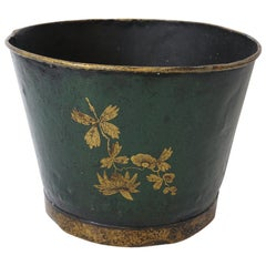 English Toleware Bucket with Butterfles