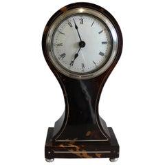 English Tortoiseshell and Silver Strung Balloon Shaped Mantel Clock