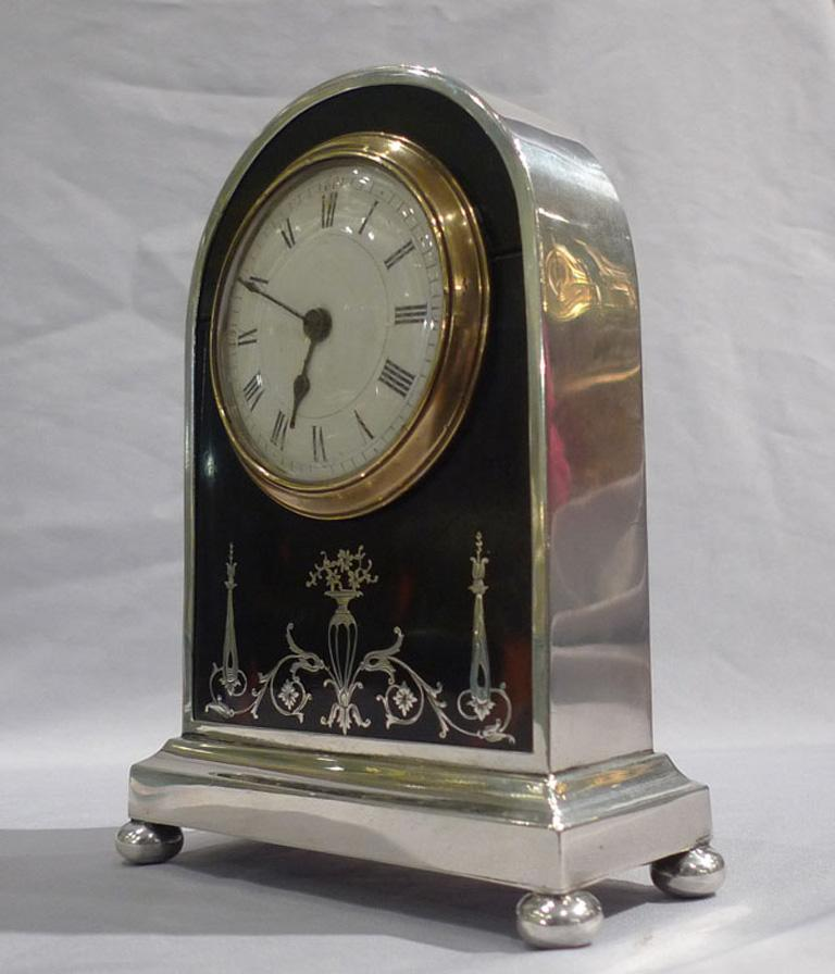 English Tortoiseshell, Silver Pique and Leather Mantel Clock In Good Condition For Sale In London, GB