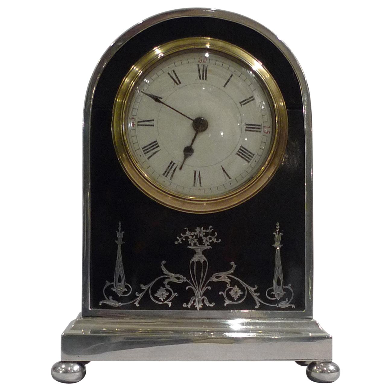 English Tortoiseshell, Silver Pique and Leather Mantel Clock