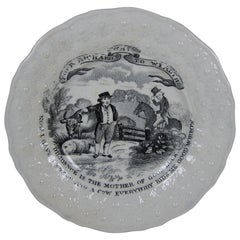 English Transferware Franklins Motto Plate, Diligence is the Mother of Good Luck