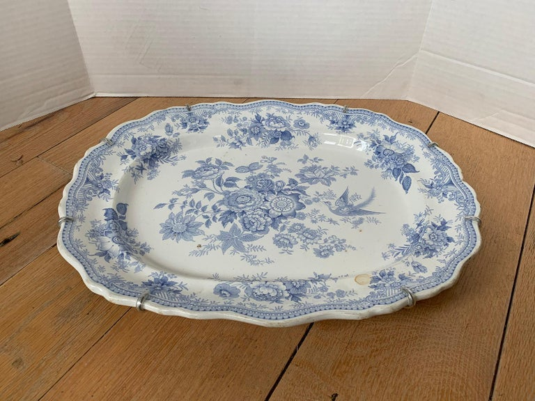 Porcelain English Transferware Oval Charger in Asiatic Pheasants Pattern, Unmarked For Sale