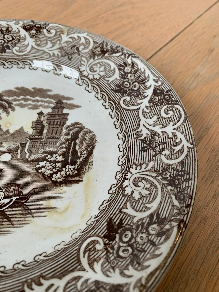 English Transferware Plate in Rhine Pattern Ironstone China Marked J.M. & S For Sale 6