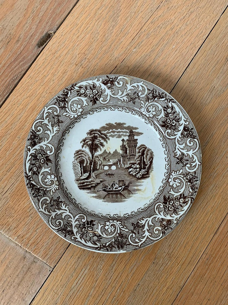 English Transferware Plate in Rhine Pattern Ironstone China Marked J.M. & S In Good Condition For Sale In Atlanta, GA