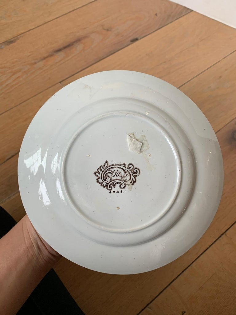 19th Century English Transferware Plate in Rhine Pattern Ironstone China Marked J.M. & S For Sale