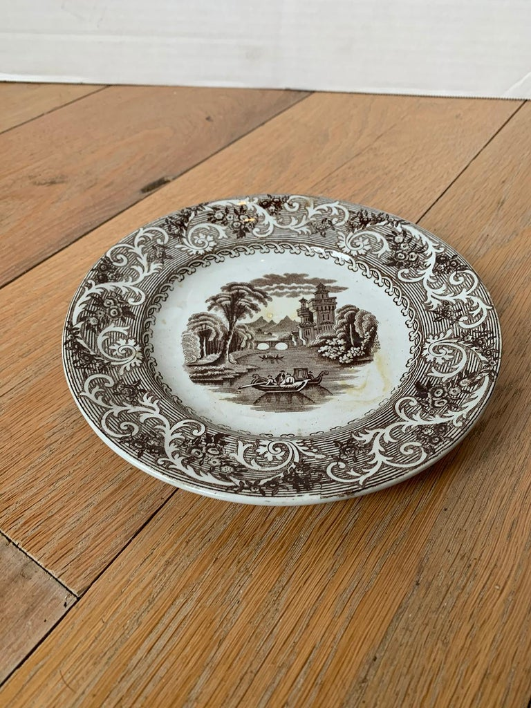 English Transferware Plate in Rhine Pattern Ironstone China Marked J.M. & S For Sale 1