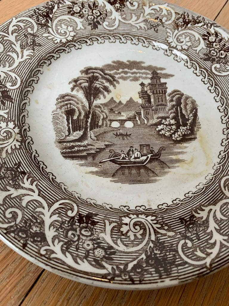 English Transferware Plate in Rhine Pattern Ironstone China Marked J.M. & S For Sale 3