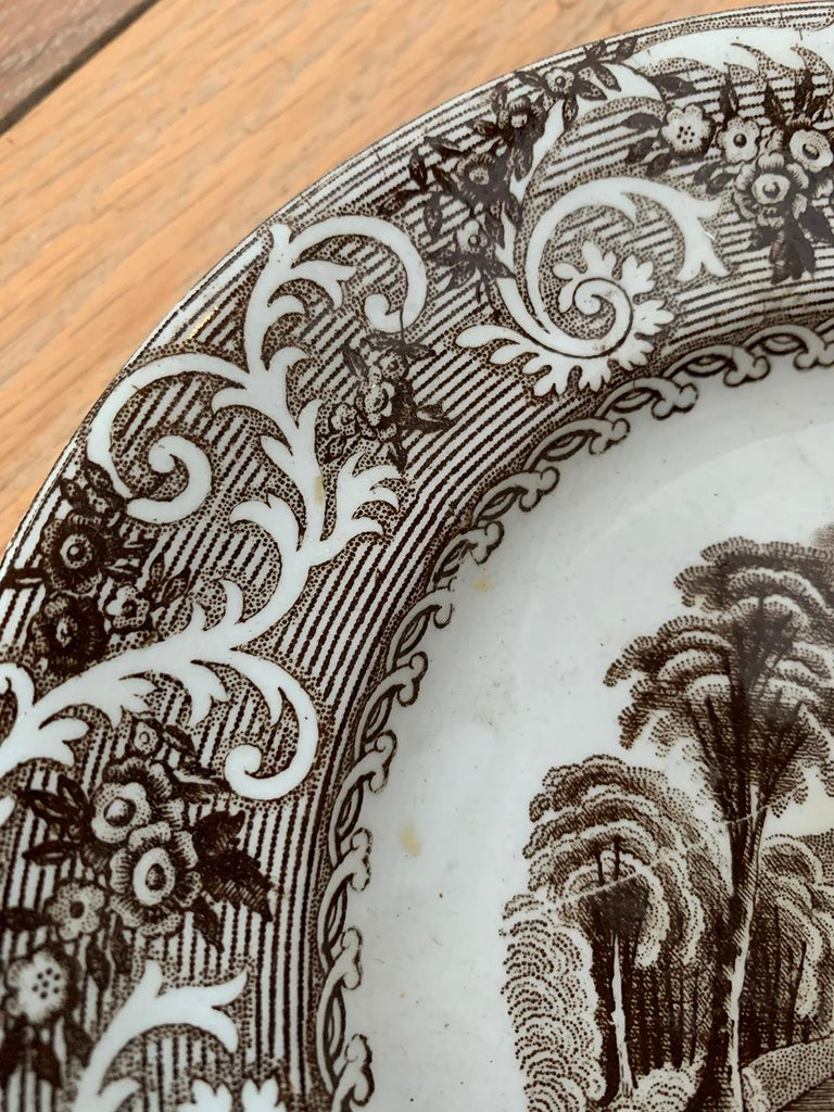 English Transferware Plate in Rhine Pattern Ironstone China Marked J.M. & S For Sale 5