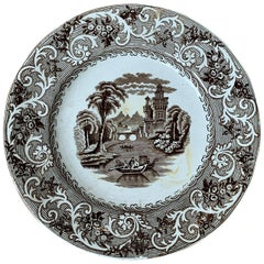 English Transferware Plate in Rhine Pattern Ironstone China Marked J.M. & S