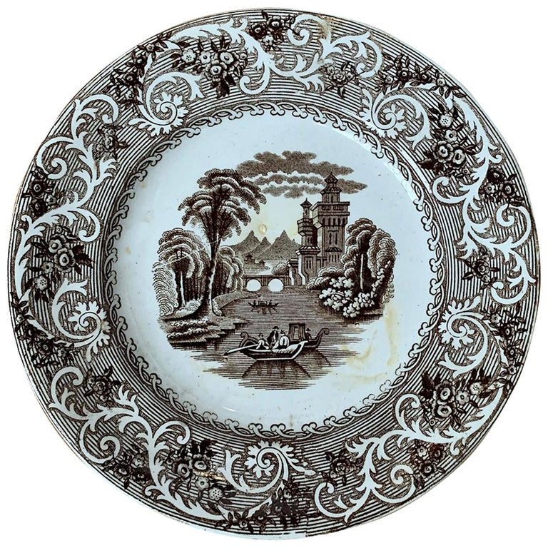 English Transferware Plate in Rhine Pattern Ironstone China Marked J.M. & S For Sale