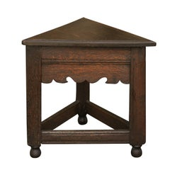 English Triangular Oak Stool with Carved Apron and Stretcher, circa 1840