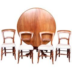 English Tripod Dining Table and 4 Chairs Victorian Mahogany Tilt Snap Top