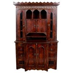 English Tudor Carved Dresser Cabinet