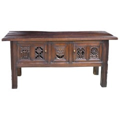 English Tudor-Style Library Table in Oak with Antique Carved Elements
