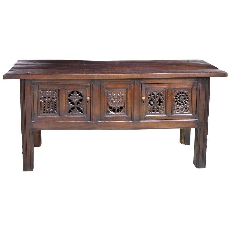 English Tudor Style Library Table In Oak With Antique Carved Elements