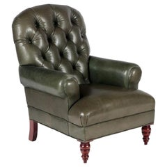 English Tufted Leather Side Chair