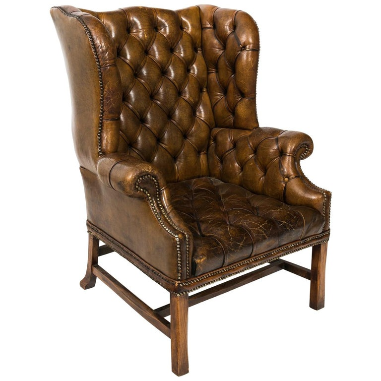 English Tufted Leather Wingback Armchair At 1stdibs