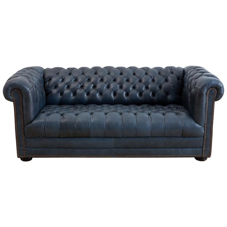 english tufted navy blue chesterfield sofa at 1stdibs. Black Bedroom Furniture Sets. Home Design Ideas