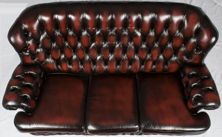 English Tufted Red Leather Tall Back Monk\'s Style Chesterfield Sofa Couch