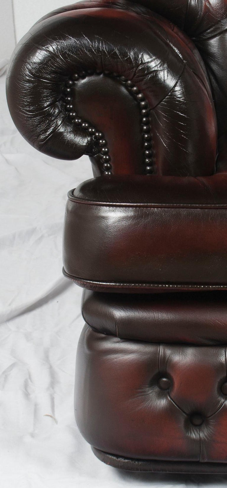 English Tufted Red Leather Tall Back Monk's Style