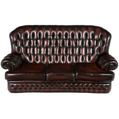 English Tufted Red Leather Tall Back Monk's Style Chesterfield Sofa Couch