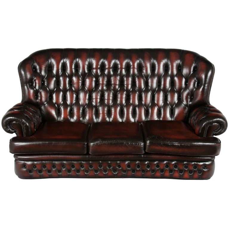 English Tufted Red Leather Tall Back Monk\'s Style Chesterfield Sofa ...