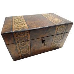 English Tunbridge Walnut Tea Caddy, 19th Century