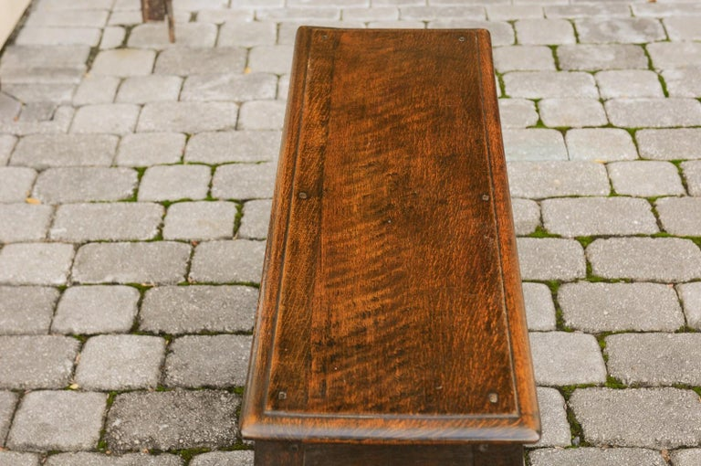 English Turn of the Century Oak Bench with Turned Base and Side Stretcher, 1900s 11
