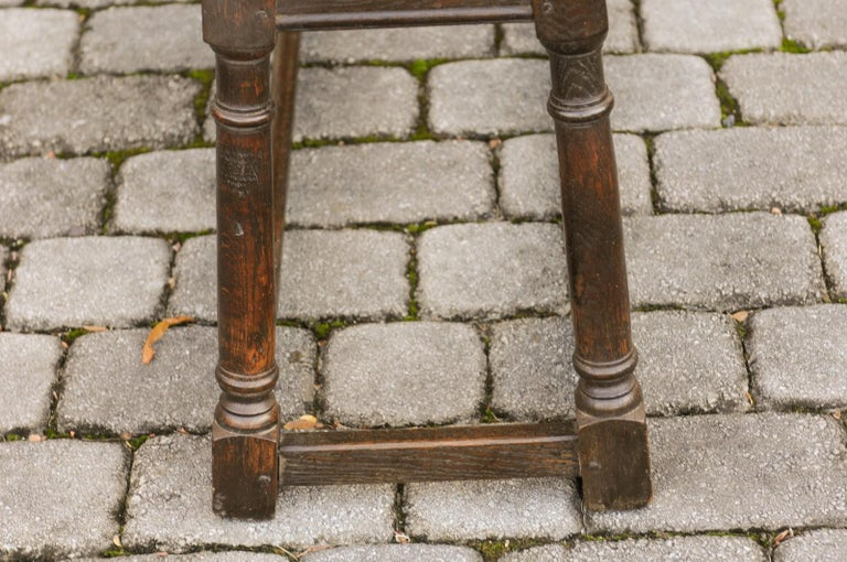 English Turn of the Century Oak Bench with Turned Base and Side Stretcher, 1900s 12