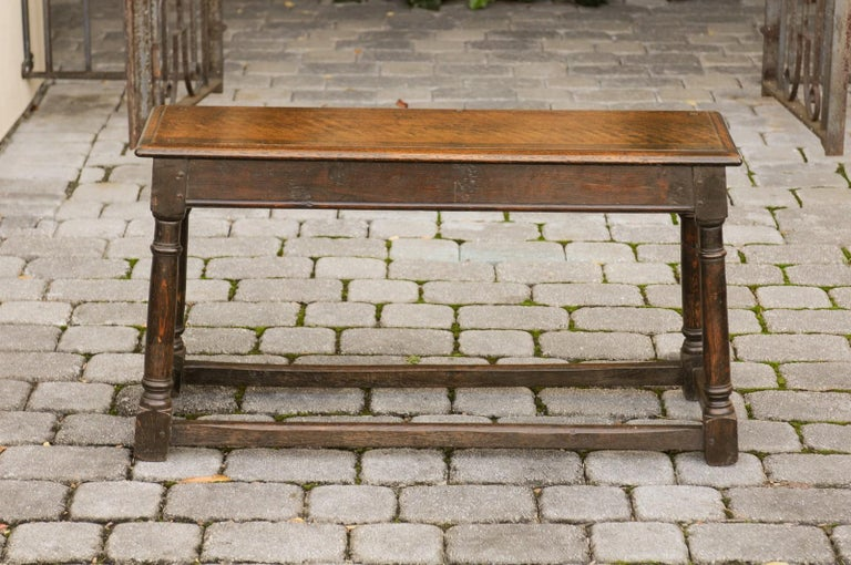 English Turn of the Century Oak Bench with Turned Base and Side Stretcher, 1900s 6