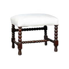 English Turn of the Century Oak Stool with Bobbin Legs and H-Form Stretcher